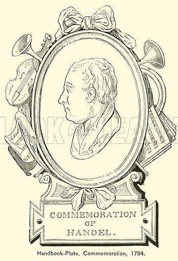 Handbook-Plate, Commemoration, 1784. Illustration for Cyclopedia of Music and Musicians edited by John Denison Champlin (Charles Scribner, 1889).