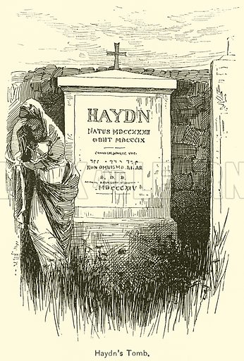 Haydn's Tomb. Illustration for Cyclopedia of Music and Musicians edited by John Denison Champlin (Charles Scribner, 1889).