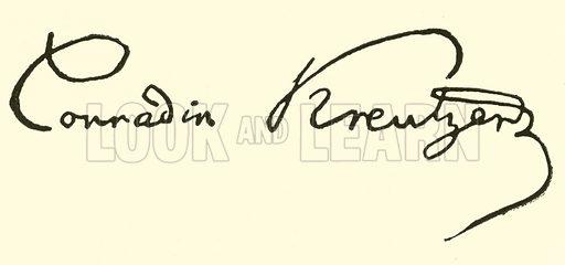 Konradin Kreutzer (Kreuzer), signature. Illustration for Cyclopedia of Music and Musicians edited by John Denison Champlin (Charles Scribner, 1889).