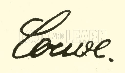 Karl Loewe, signature. Illustration for Cyclopedia of Music and Musicians edited by John Denison Champlin (Charles Scribner, 1889).