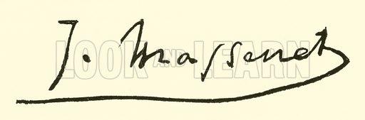 Jules (Emile Frederic) Massenet, signature. Illustration for Cyclopedia of Music and Musicians edited by John Denison Champlin (Charles Scribner, 1889).