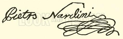 Pietro Nardini, 1722–1793, signature. Illustration for Cyclopedia of Music and Musicians edited by John Denison Champlin (Charles Scribner, 1889).
