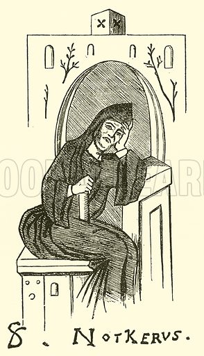 Balbulus Notker (Notkerus) called St Notker, 840–912. Illustration for Cyclopedia of Music and Musicians edited by John Denison Champlin (Charles Scribner, 1889).