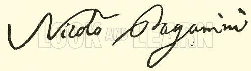 Niccolo Paganini, 1782–1840, signature. Illustration for Cyclopedia of Music and Musicians edited by John Denison Champlin (Charles Scribner, 1889).