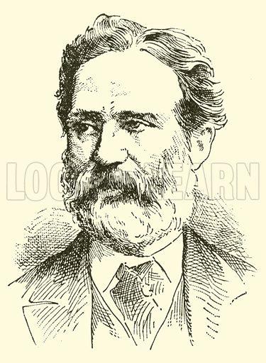 Alfredo Piatti. Illustration for Cyclopedia of Music and Musicians edited by John Denison Champlin (Charles Scribner, 1889).