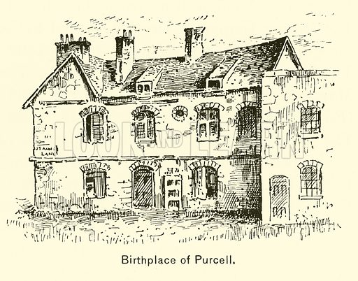 Birthplace of Purcell. Illustration for Cyclopedia of Music and Musicians edited by John Denison Champlin (Charles Scribner, 1889).