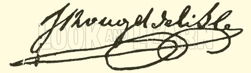Claude Joseph Rouget de Lisle, signature. Illustration for Cyclopedia of Music and Musicians edited by John Denison Champlin (Charles Scribner, 1889).