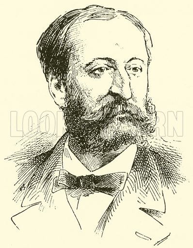 (Charles) Camille Saint-Saens. Illustration for Cyclopedia of Music and Musicians edited by John Denison Champlin (Charles Scribner, 1889).
