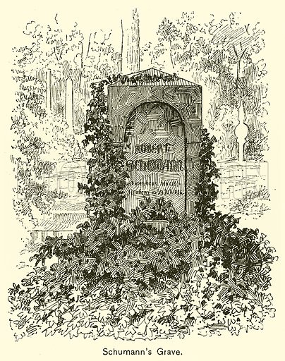 Schumann's Grave. Illustration for Cyclopedia of Music and Musicians edited by John Denison Champlin (Charles Scribner, 1889).