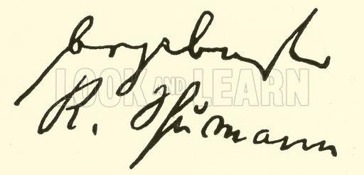 Robert (Alexander) Schumann, 1810-1856, signature. Illustration for Cyclopedia of Music and Musicians edited by John Denison Champlin (Charles Scribner, 1889).