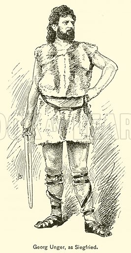 Georg Unger, as Siegfried. Illustration for Cyclopedia of Music and Musicians edited by John Denison Champlin (Charles Scribner, 1889).