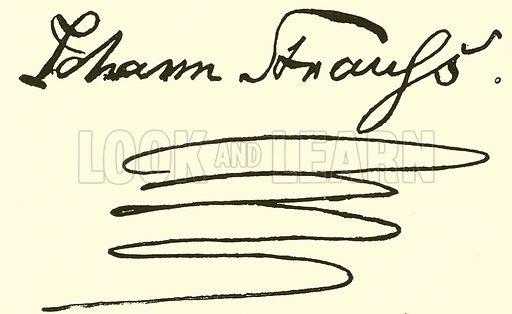 Johann Strauss, 1804–1849, signature. Illustration for Cyclopedia of Music and Musicians edited by John Denison Champlin (Charles Scribner, 1889).