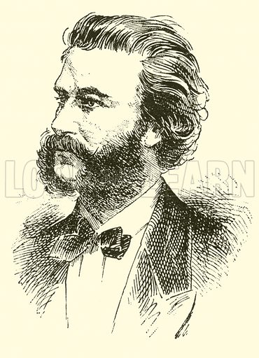 Johann Strauss. Illustration for Cyclopedia of Music and Musicians edited by John Denison Champlin (Charles Scribner, 1889).