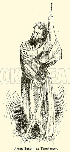 Anton Schott, as Tannhauser. Illustration for Cyclopedia of Music and Musicians edited by John Denison Champlin (Charles Scribner, 1889).