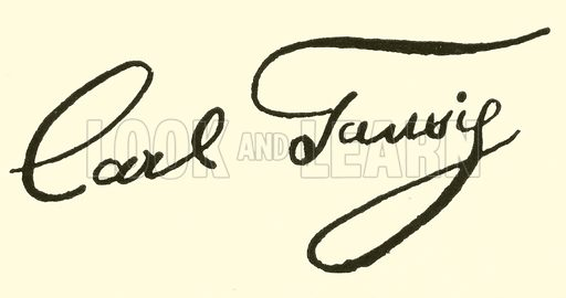 Karl Tausig, 1841–1871, signature. Illustration for Cyclopedia of Music and Musicians edited by John Denison Champlin (Charles Scribner, 1889).