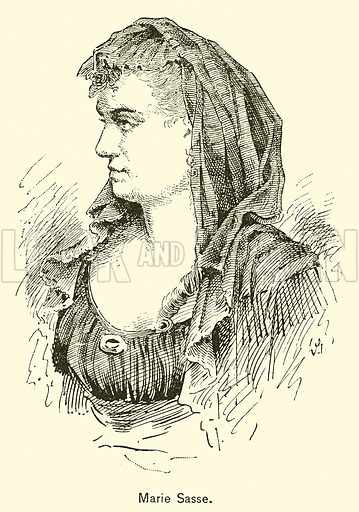 Marie Sasse. Illustration for Cyclopedia of Music and Musicians edited by John Denison Champlin (Charles Scribner, 1889).