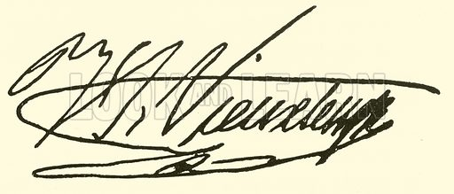 Henri Vieuxtemps, 1820–1881, signature. Illustration for Cyclopedia of Music and Musicians edited by John Denison Champlin (Charles Scribner, 1889).