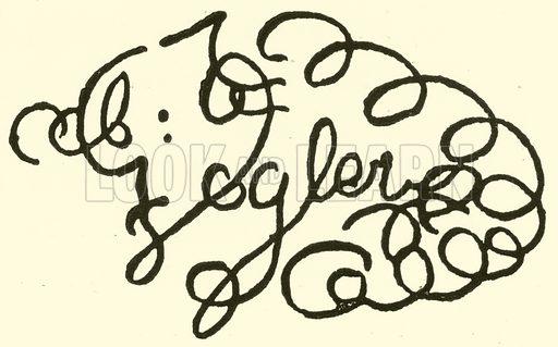 Abt Georg Joseph Vogler, signature. Illustration for Cyclopedia of Music and Musicians edited by John Denison Champlin (Charles Scribner, 1889).