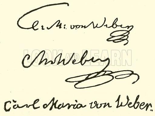 Carl Maria (Friedrich Ernst) Freiherr von Weber, 1786–1826, signature. Illustration for Cyclopedia of Music and Musicians edited by John Denison Champlin (Charles Scribner, 1889).