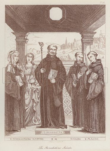 The Benedictine Saints. Illustration for Legends of the Monastic Orders as represented in the Fine Arts by Mrs Jameson (6th edn, Longmans, 1880).