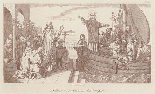 St Boniface embarks at Southampton. Illustration for Legends of the Monastic Orders as represented in the Fine Arts by Mrs Jameson (6th edn, Longmans, 1880).