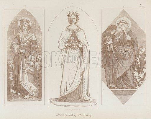 St Elizabeth of Hungary. Illustration for Legends of the Monastic Orders as represented in the Fine Arts by Mrs Jameson (6th edn, Longmans, 1880).