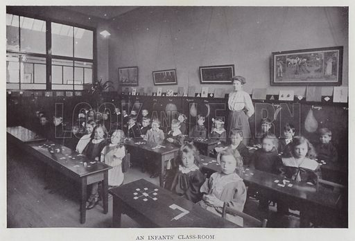 An Infants' Class-Room. Illustration for The Teacher's Encyclopaedia edited by AP Laurie (Caxton, 1911).