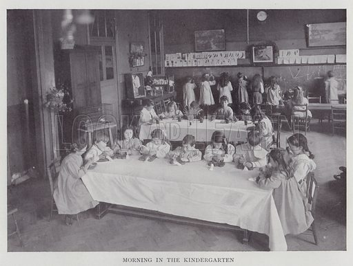 Morning in the Kindergarten. Illustration for The Teacher's Encyclopaedia edited by AP Laurie (Caxton, 1911).