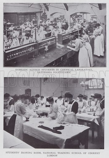 Domestic Science Students in Chemical Laboratory, Battersea Polytechnic, Students' Ironing Room, National Training School of Cookery, London. Illustration for The Teacher's Encyclopaedia edited by AP Laurie (Caxton, 1911).