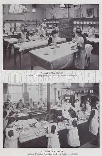 A Laundry Room, A Cookery Room, National Training School of Cookery, South Kensington. Illustration for The Teacher's Encyclopaedia edited by AP Laurie (Caxton, 1911).