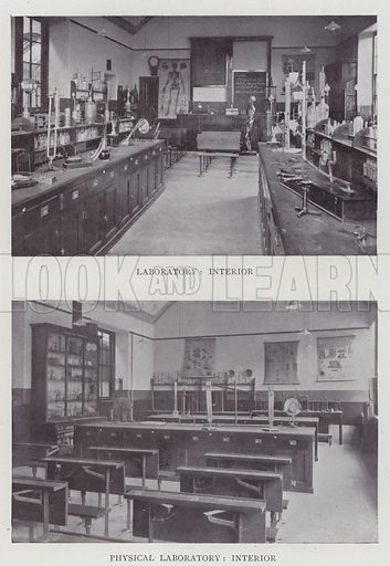 Laboratory, Physical Laboratory, Interior. Illustration for The Teacher's Encyclopaedia edited by AP Laurie (Caxton, 1911).