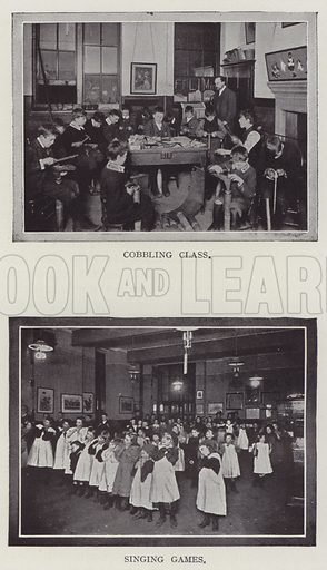Cobbling Class, Singing Games. Illustration for The Teacher's Encyclopaedia edited by AP Laurie (Caxton, 1911).