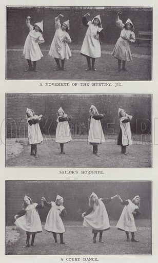 A Movement of the Hunting Jig, Sailor's Hornpipe, A Court Dance. Illustration for The Teacher's Encyclopaedia edited by AP Laurie (Caxton, 1911).