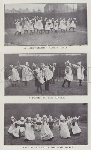 A Handkerchief Morris Dance, A Figure of the Minuet, Last Movement of the Rose Dance. Illustration for The Teacher's Encyclopaedia edited by AP Laurie (Caxton, 1911).