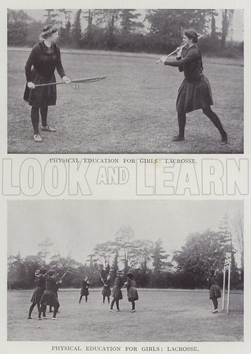 Physical Education for Girls, Lacrosse. Illustration for The Teacher's Encyclopaedia edited by AP Laurie (Caxton, 1911).