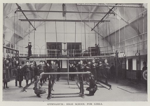 Gymnasium, High School for Girls. Illustration for The Teacher's Encyclopaedia edited by AP Laurie (Caxton, 1911).