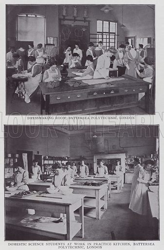 Dressmaking Room, Battersea Polytechnic, London, Domestic Science Students at Work in Practice Kitchen, Battersea Polytechnic, London. Illustration for The Teacher's Encyclopaedia edited by AP Laurie (Caxton, 1911).