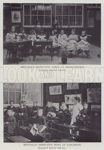 Mentally Defective Girls at Needlework, Mentally Defective Boys at Tailoring, Liverpool Special Schools. Illustration for The Teacher's Encyclopaedia edited by AP Laurie (Caxton, 1911).