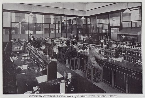 Advanced Chemical Laboratory, Central High School, Leeds. Illustration for The Teacher's Encyclopaedia edited by AP Laurie (Caxton, 1911).