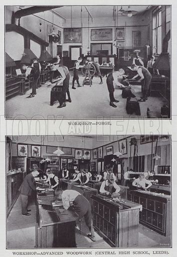 Workshop, Forge, Workshop, Advanced Woodwork, Central High School, Leeds. Illustration for The Teacher's Encyclopaedia edited by AP Laurie (Caxton, 1911).