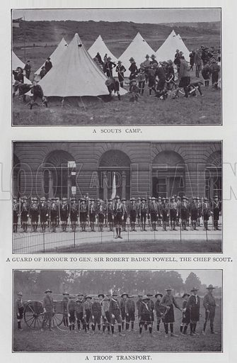 A Scouts Camp, A Guard of Honour to General Sir Robert Baden Powell, The Chief Scout, A Troop Transport. Illustration for The Teacher's Encyclopaedia edited by AP Laurie (Caxton, 1911).