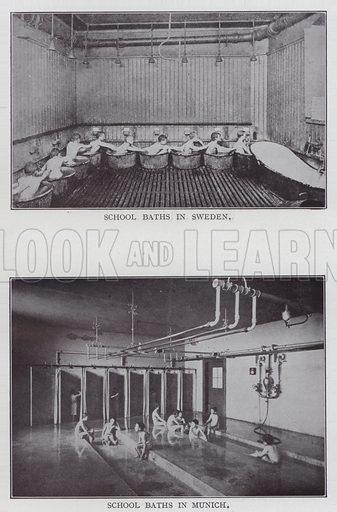 School Baths in Sweden, School Baths in Munich. Illustration for The Teacher's Encyclopaedia edited by AP Laurie (Caxton, 1911).