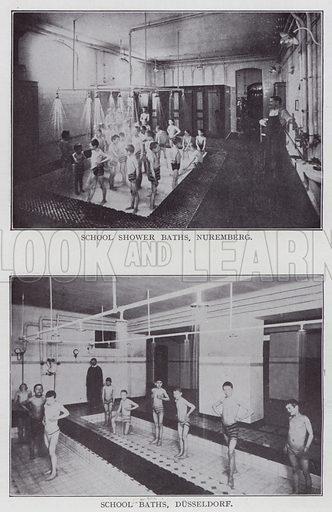 School Shower Baths, Nuremberg, School Baths, Dusseldorf. Illustration for The Teacher's Encyclopaedia edited by AP Laurie (Caxton, 1911).