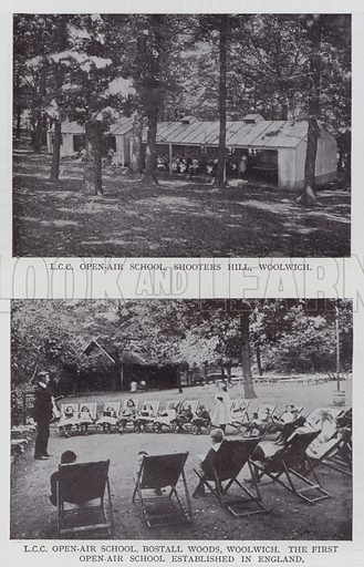 LCC Open-air School, Shooters Hill, Woolwich, LCC Open-air School, Bostall Woods, Woolwich, the First Open-air School Established in England. Illustration for The Teacher's Encyclopaedia edited by A P Laurie (Caxton, 1911).