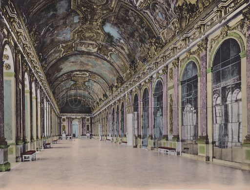 Galerie des Glaces, Glass Gallery. Illustration for booklet on Versailles et les Trianons, c 1900.