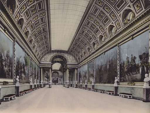 Galerie des Batailles, Battle Gallery. Illustration for booklet on Versailles et les Trianons, c 1900.