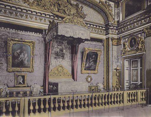 Chambre de Louis XIV, Louis XIV Bedroom. Illustration for booklet on Versailles et les Trianons, c 1900.