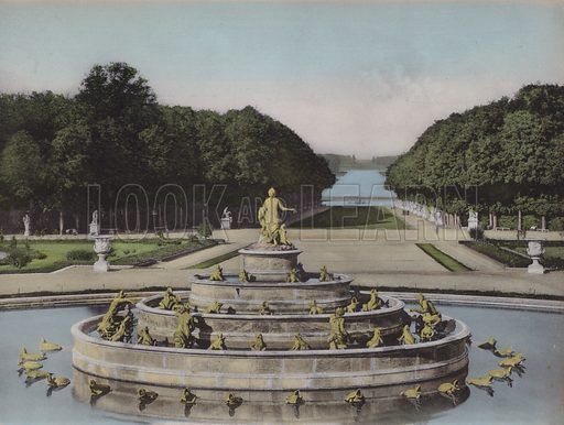 Bassin de Latone, Basin of Latona. Illustration for booklet on Versailles et les Trianons, c 1900.