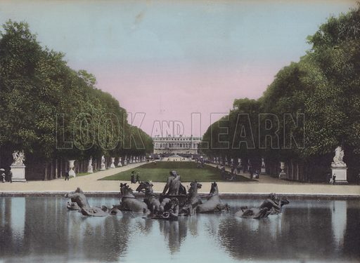 Bassin d'Apollon et Tapis vert, Basin of Apollo and Greensward. Illustration for booklet on Versailles et les Trianons, c 1900.