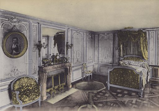 Petit Trianon, Chambre de Marie-Antoinette, Little Trianon, Marie-Antoinette Bedroom. Illustration for booklet on Versailles et les Trianons, c 1900.